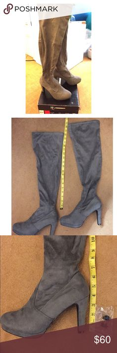 """NWT New Directions Grey Suede OTK Lydia Boots,8.5 Brand New with Box. New Directions Grey Suede Over the knee """"Lydia"""" Boots, Size 8.5. Fits 8.5-9. Length of boots is 18"""" as shown in picture. Heel is 4"""" and comes with an extra set of heel protectors. Never worn and perfect condition! new directions Shoes Over the Knee Boots"""