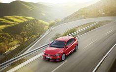 Descargar fondos de pantalla Volkswagen Polo GTI, 2018, Rojo polo, la montaña, las serpentinas, los coches alemanes, Volkswagen