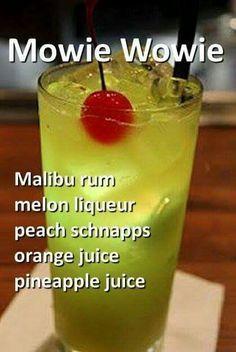 Maui wowie cocktail with malibu rum, melon liqueur, peach schnapps, orange juice and pineapple juice