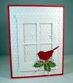 handmade winter/Christmas card .. die cut window fame, red bird. and holly leaves ... great look!
