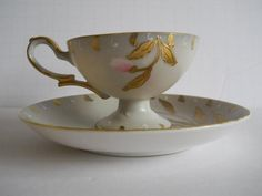 Vintage Tea Cup and Saucer Pink Flowers and Gold Leaves Shofu China Made in Occupied Japan Cup And Saucer Set, Tea Cup Saucer, White Coffee Cups, Vintage Tea, Gold Leaf, Teapots, Teacup, Pink Flowers, Tea Time