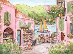 Pink Travel Themed Nursery Art For Girl Italian Girl Gift