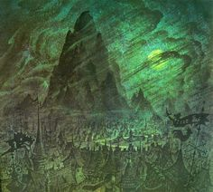 """""""Night On Bald Mountain"""" segment of Disney's Fantasia. Pre-production painting of the opening scene"""
