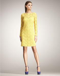 Blumarine Longsleeve Lace Shift Dress in Yellow - Lyst