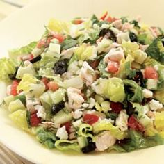 Chopped Greek Salad with Chicken - under 350 calories! dinner salad Chopped Greek Salad with Chicken Healthy Recipes, Healthy Salads, Healthy Cooking, Great Recipes, Salad Recipes, Dinner Recipes, Healthy Eating, Cooking Recipes, Favorite Recipes