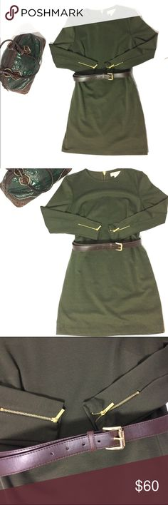 """Michael Kors Green Long Sleeve Dress Petite Medium In perfect, like new condition. No flaws. Michael Kors army green long sleeve dress with brown belt. Both Dress and belt have shiny gold metal hardware. Medium Petite. Approximate measurements: 34"""" length, shoulder to hem 16"""" waist 23"""" arm, shoulder to wrist Smoke and pet free home. All reasonable offers considered! Michael Kors Dresses"""