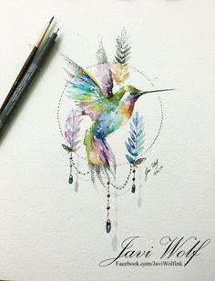 Magical humming bird art