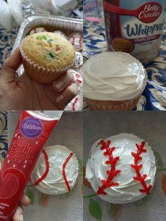 How to make Baseball Cupcakes