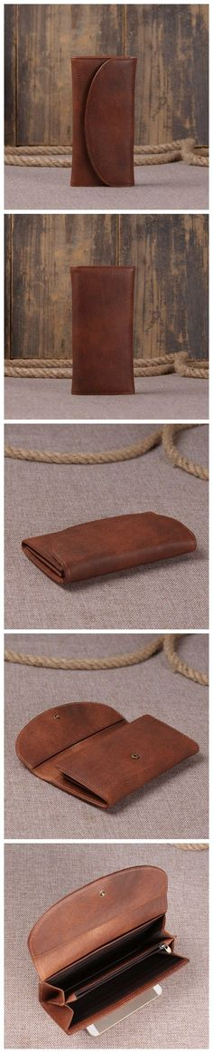 Brown Italian Leather Wallet Card Holder Leather Money Purse Leather Case