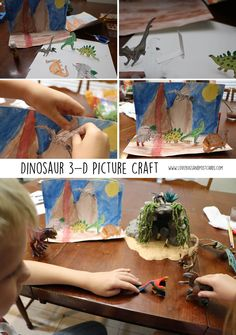 Dinosaur 3-D Picture Craft inspired by @SchleichPins. Come see why we love our #Schleich toys so much! AD http://www.lovebugsandpostcards.com/dinosaur-3-d-picture-craft-inspired-by-schleich/