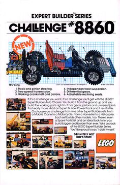 1981 ad showing Lego Expert Builder Series challenge #8860, the auto chassis. There are also shown the boxes of the sets released between 1978 and 1980.