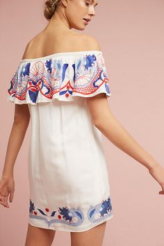 Slide View: 3: Embroidered Off-The-Shoulder Cover-Up