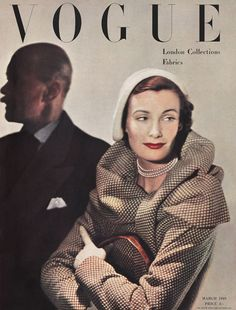 Wenda Parkinson in Hardy Amies for British Vogue, cover by Norman Parkinson, March 1949 Vogue Magazine Covers, Fashion Magazine Cover, Fashion Cover, 1940s Fashion, Vogue Fashion, Classic Fashion, Fashion Vintage, Fashion 2018, Anna Wintour