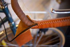 Progress in stitching leather handlebar wrap Stitching Leather, Hand Stitching, Stitch Lines, Bike Handlebars, Touring Bike, Sewing Leather, Leather Pieces, Porn, Scrap