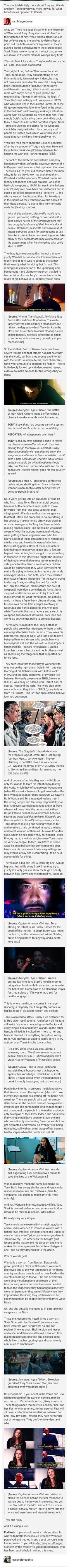 Wanda and Tony have similar origin stories, but only one is treated well by the fandom. Wonder why that is? #cacw #tonystark #wandamaximoff