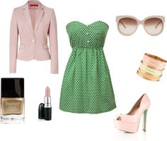 pretty in pink and green, created by b-erb on Polyvore