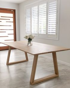 Our STARK dining table in solid American White Oak - looking perfect in our clients light filled dining room. White Oak Dining Table, Oak Table Top, Dining Table Legs, Wooden Dining Tables, Timber Furniture, Furniture Care, Dining Room Furniture, Furniture Design, Sunshine Coast