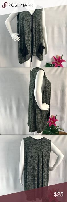 """‼️Logo by Lori Goldstein Sweater Knit Vest. E23 Logo by Lori Goldstein knit vest w faux leather trim Color is """"Dark Elm"""" it's a forest green w grey w black trim.  Size Large  Perfect cover up or over any tee shirt. Long or short sleeves. Covers and hides your tummy! It's loose and airy. Has stretch too! Throw it on over anything for some coverage!  2 cute shop by pockets in front. Awesome piece to have in your wardrobe!  No flaws. 95 rayon 5 spandex Logo by Lori Goldstein Jackets & Coats…"""