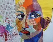 self-portrait textile art portrait canvas fabric by makkireQu