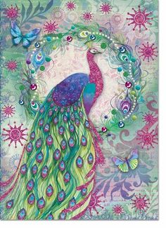 Peacock Wreath Boxed Cards