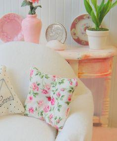 Dollhouse Pillow Miniature Shabby Chic Micro by Memoriesnminiature, $6.99