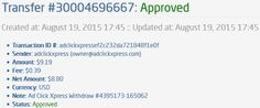 People this is real !!! Make money online!!! AdClickXpress is the top choice for passive income seekers. Making my daily earnings is fun, and makes it a very profitable!.I WORK FROM HOME less than 10 minutes and I manage to cover my LOW SALARY INCOME. Here is my Withdrawal Proof from AdClickXpress. I get paid daily and I can withdraw daily. Online income is possible with ACX, who is definitely paying - no scam here. http://www.adclickxpress.com/?r=3x4nu6n9xvuj&p=mx