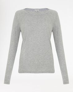 Pima Cotton Long-Sleeve T-Shirt in Grey from Jigsaw