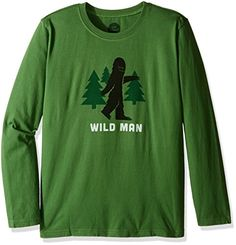 Life is good Boys longsleeve Boys Tee Wild Man Tart Green Small * Learn more by visiting the image link.