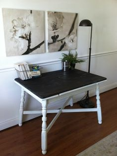Ebony stained table top + Old White painted legs. Chelsea's Garage