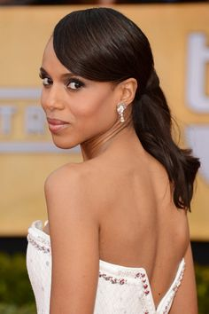 A formal ponytail style that is perfect with a backless dress. See more of Kerry Washington's best hair moments here:
