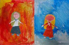 Warm and cool colors with Babouchka // Elementary art // Pots de peinture