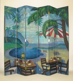 Features:  -Island poolside theme.  -Solid cedar wood.  -Hand-painted.  -Brush…