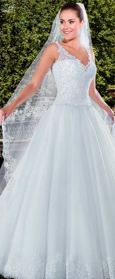 Charming Tulle V-neck Neckline Mermaid Wedding Dresses With Lace ...