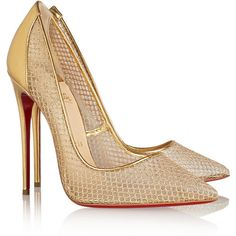 Christian Louboutin Follies Resille 120 metallic leather and fishnet... ($930) ❤ liked on Polyvore