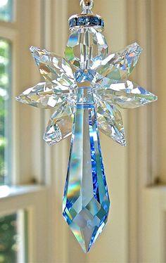 Blue Angel Swarovski Crystal Suncatcher Prism for Car Mirror Neli Quilling, Angel Protection, Beaded Angels, Swarovski Crystal Beads, Blue Angels, Sun Catcher, Car Mirror, Beaded Ornaments, Bead Crafts