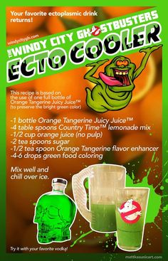 Ghostbusters Ecto Cooler recipe! Perfect for Halloween parties! #Halloween #cocktails #retro
