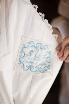 """Stephanie writes, """"I can't thank you enough for helping me pick out the perfect dress""""! Monogram Wedding, Personalized Wedding, Wedding Monograms, Wedding Day Gifts, Something Blue Wedding, Designer Wedding Dresses, Wedding Inspiration, Wedding Ideas, Bridal Accessories"""