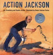 This is a non fiction book about a painter named Jackson Pollock.  Jackson Pollock was the first painter to do an abstract painting.  He paints different than other painters.  He lays out his canvas on the ground instead of on the wall or on an easel.  He does not touch the canvas with his brush instead he paints with his whole body and lets it drip off the brush wherever it goes.  I think any kids interested in art would like this book.  Reviewed by Katie, age 6