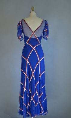 1930s Gown / 1930s Silk Chiffon Dress / Red White and Blue