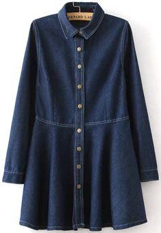 Navy Lapel Long Sleeve Buttons Denim Dress - abaday.com