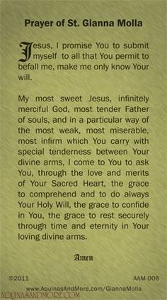Prayer of St. Gianna Beretta Molla