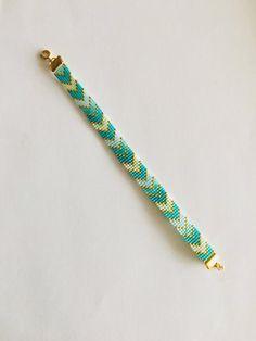 Items similar to Mint Delica Beaded Bracelet on Etsy Seed Bead Jewelry, Diy Jewelry, Beaded Jewelry, Jewelry Making, Jewelry Patterns, Bracelet Patterns, Bracelet Designs, Beaded Braclets, Bead Loom Bracelets
