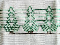 Huck embroidered Christmas trees