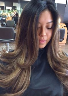 Beautiful ash blond ombré on natural Asian brown base.