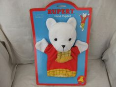Vintage Rupert Bear hand puppet by Golden bear products 1993 still on original card wrap by VintageBySimpson on Etsy