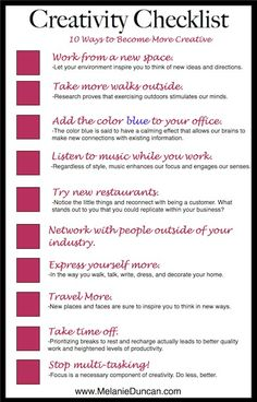 I love great ideas for getting my creativity flowing.  I also love the simplicity of Melanie's checklist! Creativity Checklist by Melanie Duncan