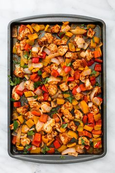 One Pan Fajita Chicken and Veggies is an awesome meal in one with zesty lime and spicy seasonings.  Ready in under 30 minutes this meal will be one of the best you have tried!  Hey hey it's Tiffany from Creme de la Crumb back to share one of my favorite go-t0 busy weeknight meals! I …
