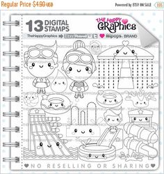 80%OFF - BIG SALE Water Park Stamp, Commercial Use, Digi Stamp, Digital Image, Water Park Digistamp, Water Park Coloring Page, Water Park Gr