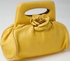 dbfdca30fbe5 Chanel Yellow Lambskin Leather Small Flower Evening Bag Chanel Handbags, Luxury  Handbags, Fashion Handbags