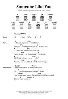 Download Adele Someone Like You sheet music notes and chords for Banjo Lyrics & Chords
